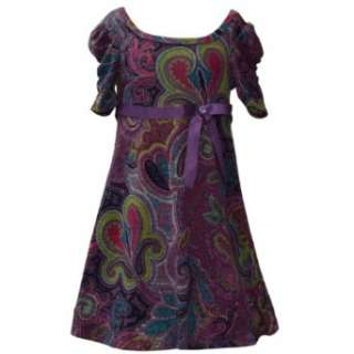 Bonnie Jean Girls 7 16 Purple Paisley Knit Dress: Clothing