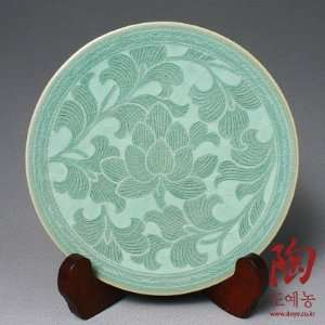 Celadon Green Glaze Lotus Flower Design Porcelain Ceramic