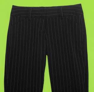 Juniors Womens Black Penstripe Dress Pants Slacks Stretch 4G41