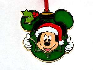 ✿Mickey Mouse Stained Glass Christmas Ornament✿Holly✿Holiday