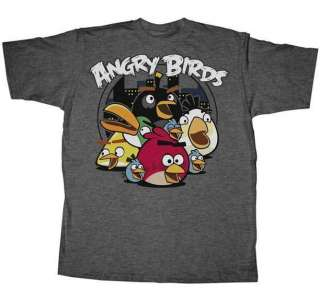 New Men Angry Birds Circle Night T Shirt Tee Size S M L XL XXL