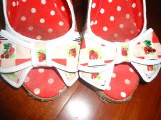 Betsey Johnson PIN UP rockabilly cherry strawberry gingham picnic BOW