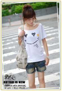 Womens Casual Batwing Sleeve T shirt Tops Smile Print Blouse I169