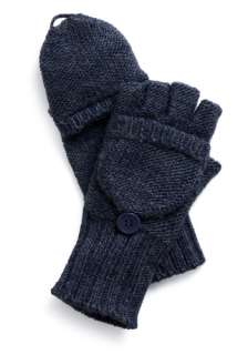 Football Gloves in Blue   Blue, Solid, Buttons, Casual, Fall, Winter