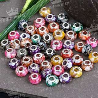 LOTS MIX SHELL RESIN BIG HOLE LOOSE BEAD FIT CHARM 50PC