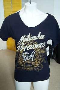 ALYSSA MILANO MLB Milwaukee Brewers T Shirt w/Rhinestone Logo Size