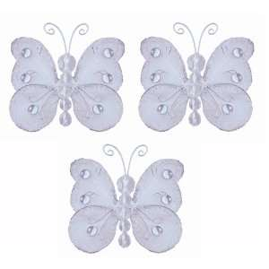 3 White Mini (X Small) Wire Bead Butterfly Butterflies