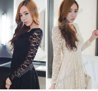 New Womens Fashion Long Sleeve Sexy Floral Lace Party Clubwear Mini