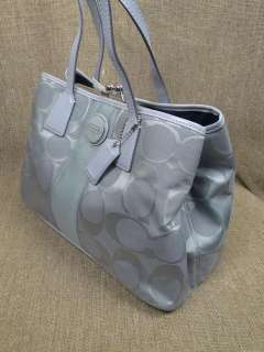 Coach Signature Stripe Framed Carryall Grey F 17424 Grey Patent