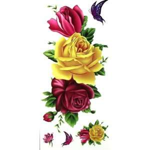 LW Waterproof tattoo sticker color flowers and roses