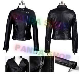 Lady Zip Short Leather Coat Jacket Long Sleeve Particular New