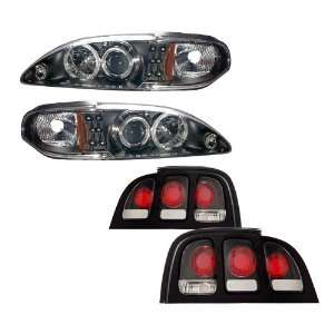 Mustang Black LED Halo Projector Headlights /w Amber + Tail Lights