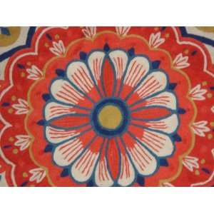 Crewel Rug Surya Red and Blue Chain Stitched Wool Rug