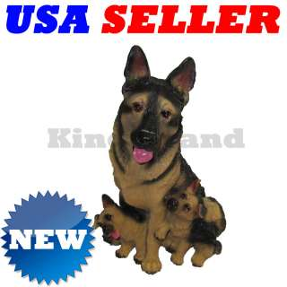 German Shepherd Dog w/ 2 Puppies Resin Statue Figurine