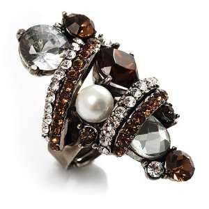 Giant Vintage Crystal Cocktail Ring (Clear&Amber Coloured
