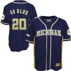 Michigan Wolverines #20 Navy Blue Youth Rocket Baseball Jersey: