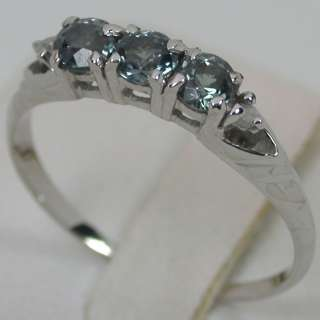 01 CTS 14K SOLID WHITE GOLD NATURAL ALEXANDRITE TRILOGY BAND DIAMOND