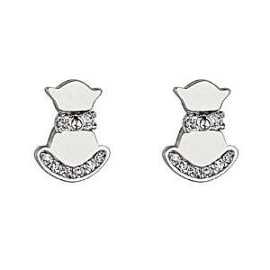 925 Sterling Silver Rhodium Plated Cat Kitty CZ Stud Earrings with