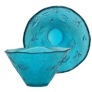 Spanish Large Ocean Sea Life Recycled Aqua Blue Glass Small Salad Bowl