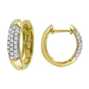 14k Yellow Gold Round Pave Diamond Hoop Earrings (1/4 cttw