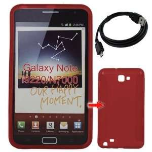 Premium Red TPU Gel Case Cover+Black Straight Micro USB Data Cable for