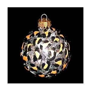 Gold Leopard Design   Hand Painted   Heavy Glass Ornament