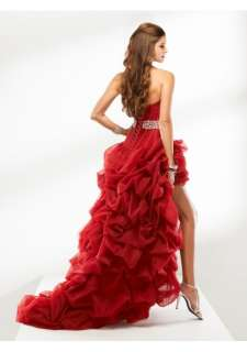 Red Strapless Sweetheart Neckline Tulle Hi Lo Prom Dress Wedding Dress