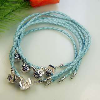 lots 15pcs Silver Snake Blue Charms Bracelet Fit European 20CM 21CM