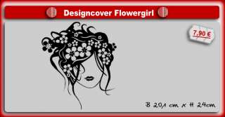 GIRL w FLOWERS Jugendstil NOTEBOOK Laptop DEKO Tattoo
