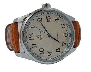 White Automatic Men Watch *Date, Blue Dials, Mechanical, Leather