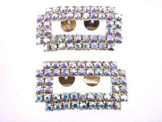 VINTAGE GOLD TONE BLING AB CRYSTAL RS SHOE CLIPS COOL