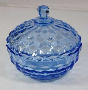 VTG Indiana Glass Whitehall Light Blue Candy Dish W/Lid