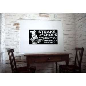 Steak and Chops Ad Restaurant Cafe Wall Vinyl Sticker Decals Art Mural