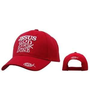JESUS GOD ER DONE Red Christian Baseball Cap/ Hat