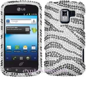 Custom Fitted Screen + BLING ZEBRA Case Cover Straight Talk NET 10 LG