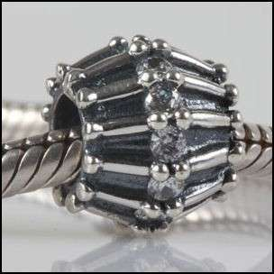 GENUINE SOLID STERLING SILVER 925 CZ STONE CHARM BEAD
