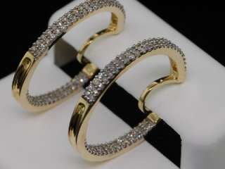 LADIES 0.50CT YELLOW GOLD DIAMOND PAVE EARRINGS HOOPS