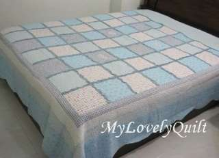 BABY BLUE Heart Appliques Patchwork Quilt BEDSPREAD with Ruffles QUEEN