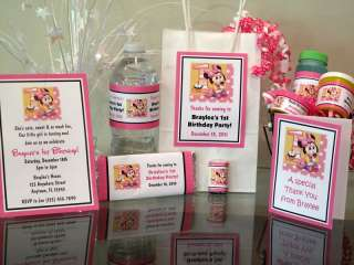 Minnie Mouse 1st Birthday PDF CD w/ Invitation Favors Water Candy Gum