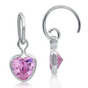Heart CZ 925 Sterling Silver Drop C Hoop Earrings