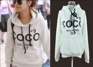 2011 Autumn Vogue Style Ladys Inner White COCO Print Hoodie Pullover