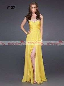 Yellow Chiffon Sweetheart Prom Gown/Evening dress/Wedding dress Custom