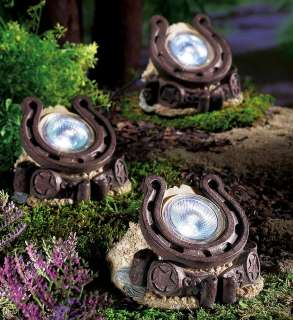 Set of 3 Decorative Western Horseshoe Solar Powered Garden Path Lights