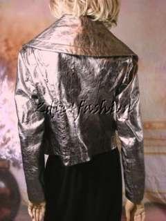 3800 New DONNA KARAN Silver Leather Motorcycle Biker Wide Collar