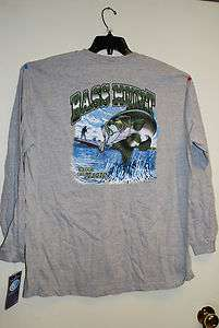 Mens Large Long Sleeve T shirt w/ pocket BASS HUNT fishing New w