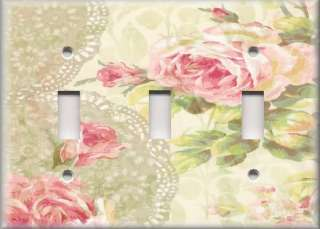 Plate Cover   Floral   Shabby Pink Roses With Lace Background