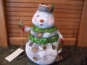 Home Interiors 2 piece SNOWMAN Candle Jar Cover NWT
