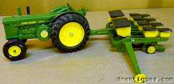 c1970s ERTL MADE IN USA JOHN DEERE FARM TRACTOR 544 & FOUR ROW PLANTER