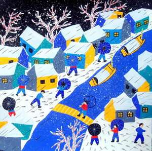 CHINESE FOLK ART WATERCOLOR PAINTING*10x10Snowy Village