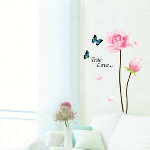 FLOWER BUTTERFLY WALL DECALS MURAL DECOR STICKERS #305